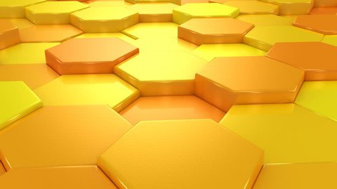 Animated Orange Honeycombs. Abstract background, loop, created in 4K, 3d animation