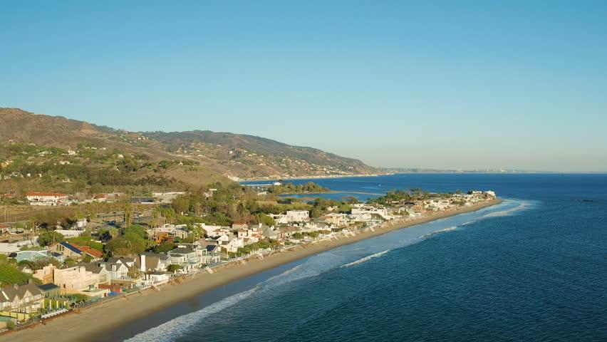 Malibu Aerial Coastline Homes v12 Flying low over coastline homes panning.