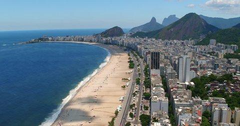 Aerial view of Copacabana beach at noon, Rio de Janeiro, Brazil
