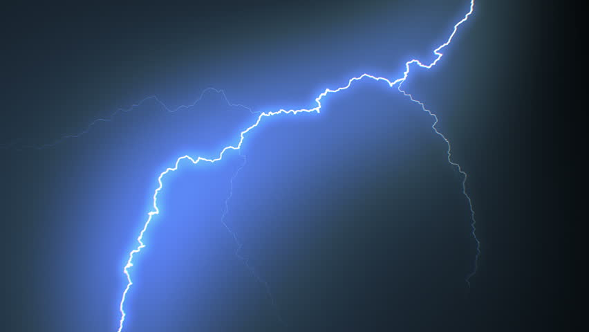 Set of Beautiful Lightning Strikes on Black Background. Electrical Storm. 17 Videos of Blue Realistic Thunderbolts in Loop Animation in 4k 3840x2160.