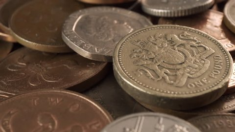 British Coins in Extreme Close Stock Footage Video (100