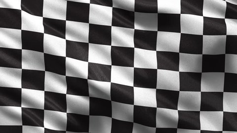 Loop-ready checkered race flag waving in the wind with highly detailed fabric texture