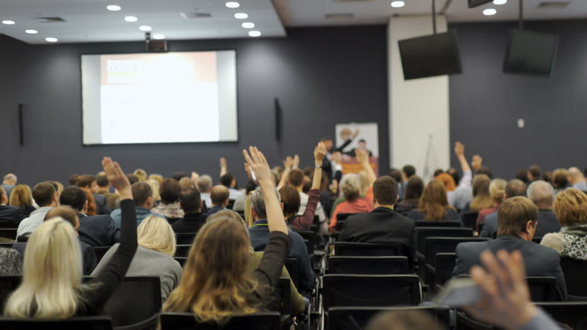 Business people Raising there Hand Up at a Conference to answer a question 4k. | Shutterstock HD Video #24244700