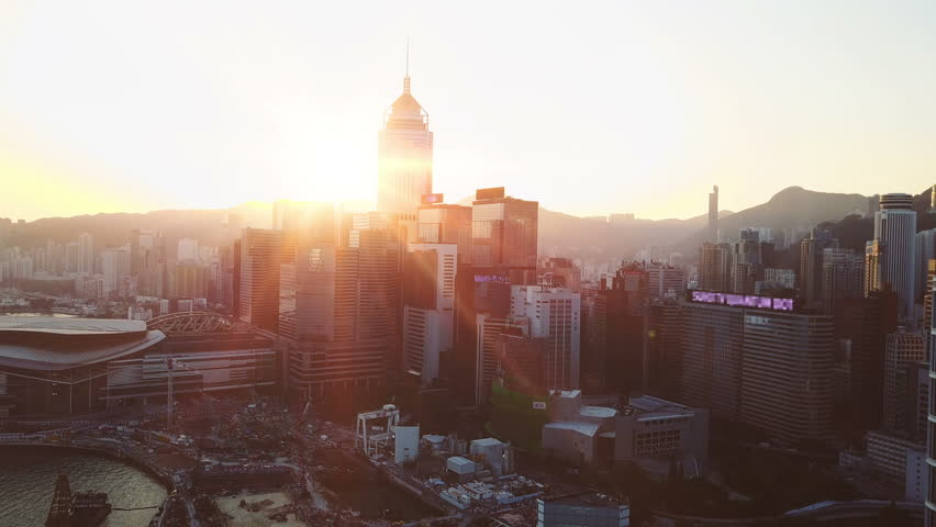 Aerial view of Hong Kong city at early morning time. Blurred all brand mark. Cinematic style. | Shutterstock HD Video #24250880