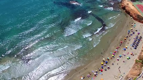 Spain, the Mediterranean coast of the Costa Blanca, Valencia, sandy beaches of La Zenia, the video captured from the air with drone