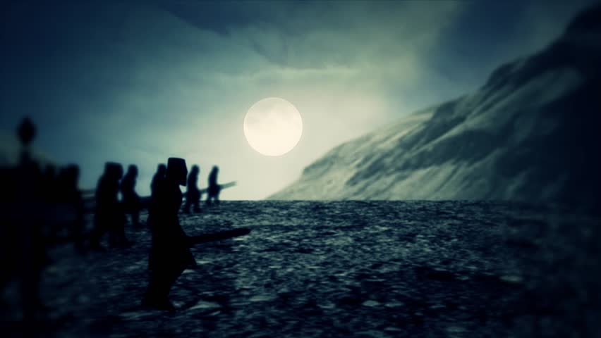 Medieval Soldiers Marching Through the Night | Shutterstock HD Video #24268718