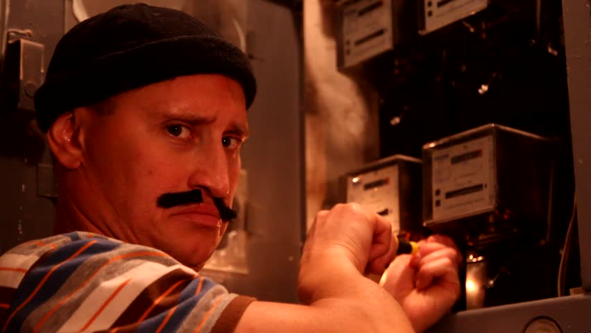 Funny electrician, electric is working. Electric sparks. Worker. Funny man, humor. Emotions