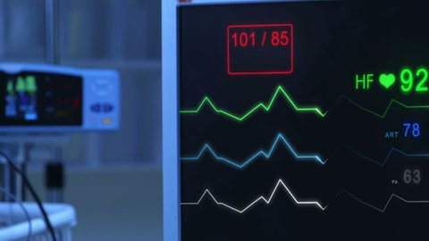 E.C.G (Pulse checking) Monitor. Monitor that shows heartbeat activity. Cold atmosphere.
