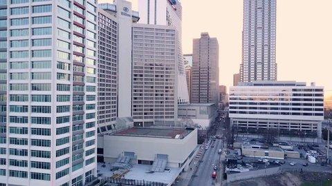 Atlanta Aerial panning backwards from city skyline.