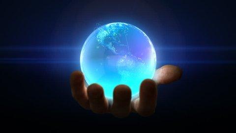 3d digital blue globe rotating in hand loop