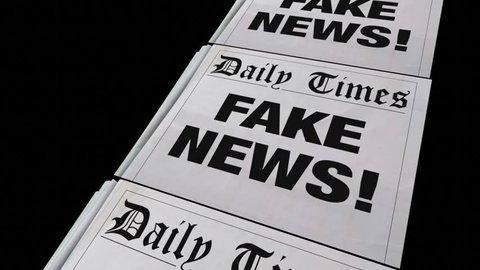 Fake News Lies Newspaper Headline Dishonest Media 3d Animation