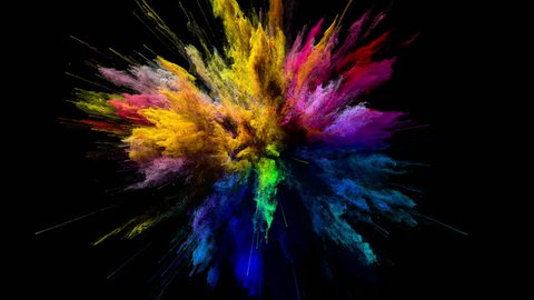 Cg animation of color powder explosion on black background. Slow motion movement with acceleration in the beginning and orbiting camera. Has alpha matte.