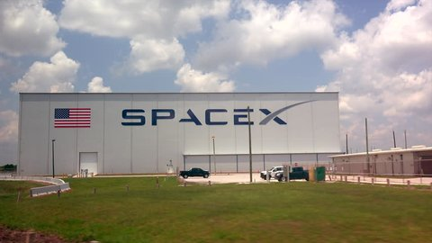CAPE CANAVERAL, FLORIDA - JUNE 14th: SpaceX building at the Kennedy Space Center in Cape Canaveral, Florida on June 14th, 2016.