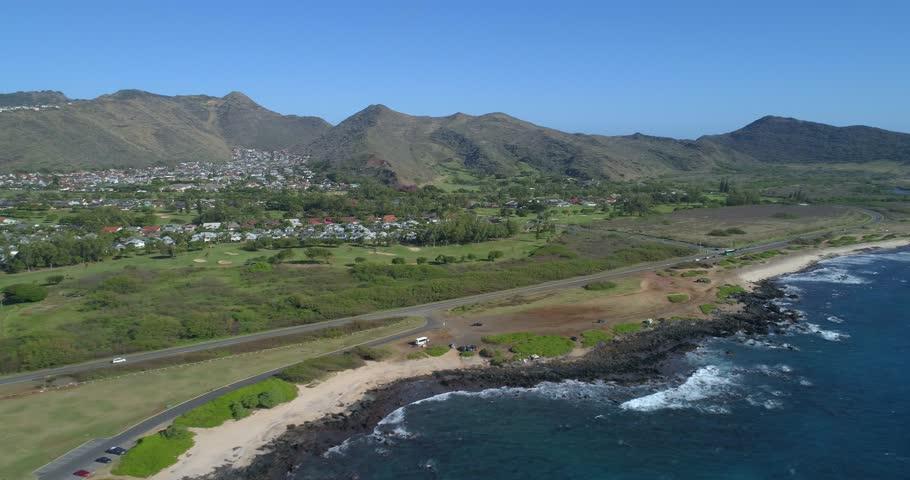 Volcanic rock Hawaii coast 4k 30p