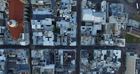 Overhead aerial view of houses and apartments in Montevideo