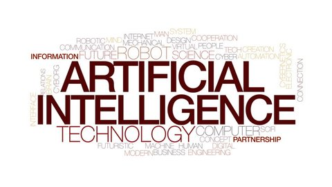 Artificial intelligence animated word cloud, text design animation. Kinetic typography.