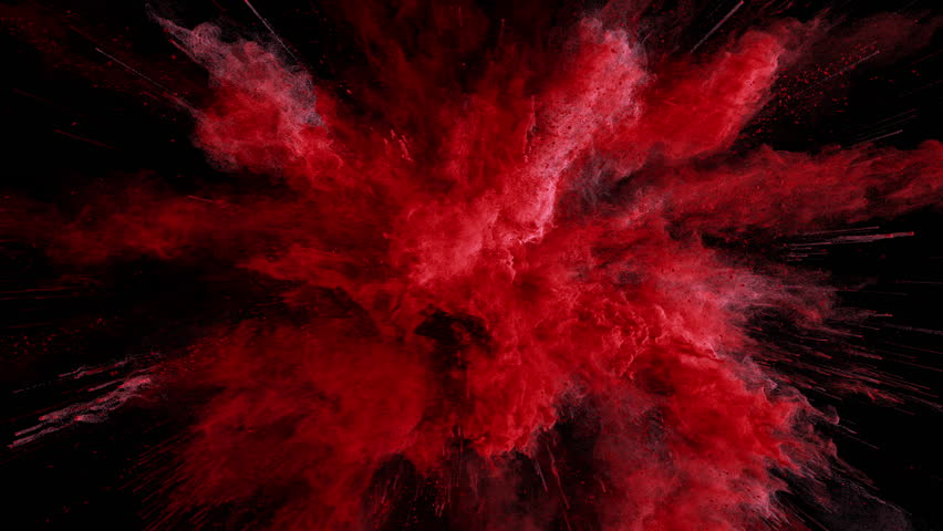 Cg animation of red powder explosion on black background. Slow motion movement with acceleration in the beginning. Has alpha matte | Shutterstock HD Video #24419231