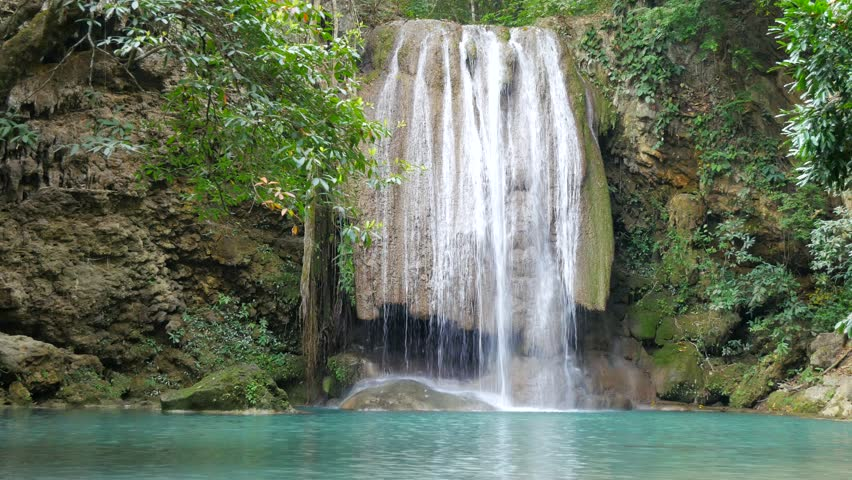 Deep forest waterfall at Erawan waterfall National Park Kanjanaburi Thailand | Shutterstock HD Video #24433130