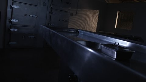 SPECIMEN TRAY ON AN AUTOPSY TABLE.  SLOW DOLLY MOVE TO AN AUTOPSY TABLE IN AN EMPTY MORGUE.  NEGATIVE SPACE IN FRAME NEXT TO CADAVER REFRIGERATORS IN THE BACKGROUND.  SHOT IN 4K, 10 BIT, 4:2:2.