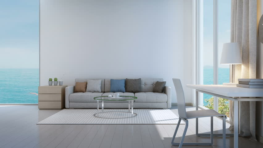 Sea view bedroom, living room and working area in luxury beach house - 3D rendering