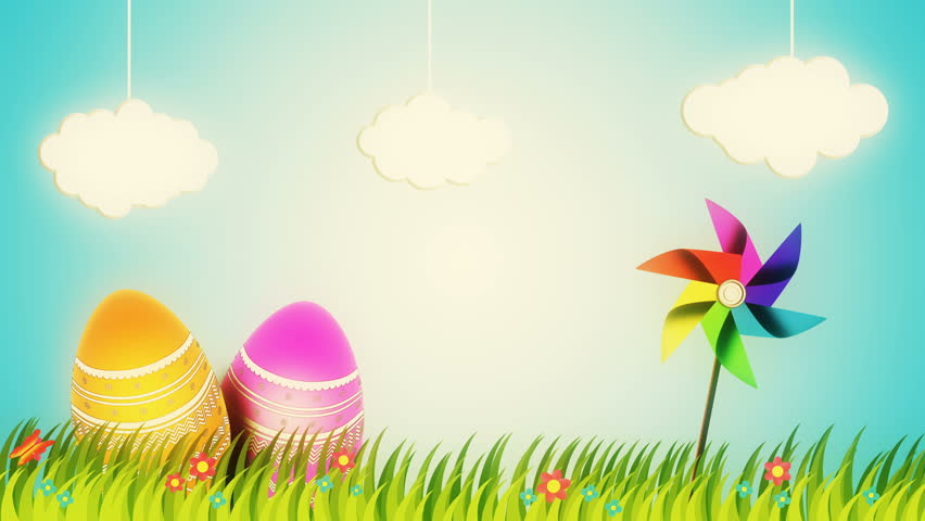 Happy Easter background animation - 4K stock video clip