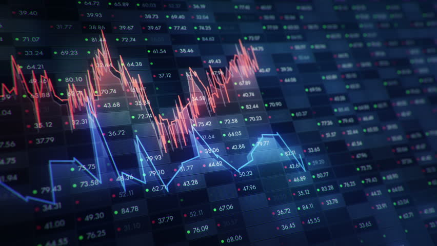 Abstract background with animation of growth graph of stock market on screen of trading board with abstract quotes tickers, words about business or technology, binary code. Animation of seamless loop. | Shutterstock HD Video #24538922
