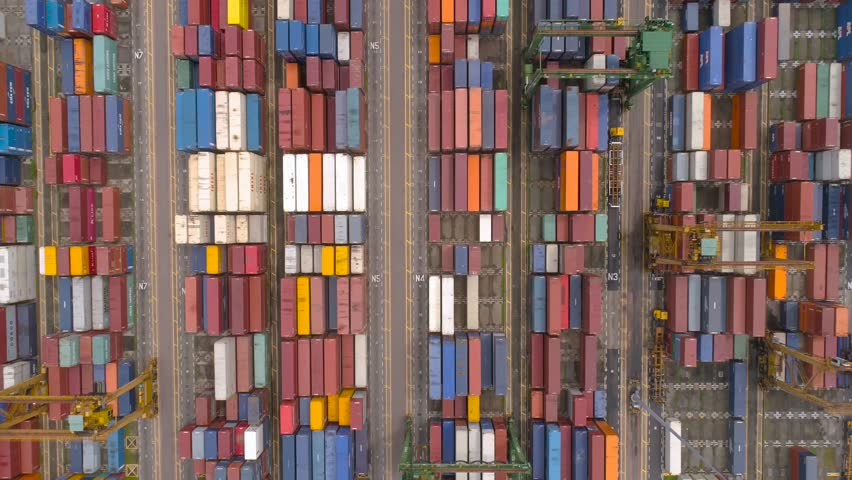 Flying above containers in the biggest industrial port in Singapore   Shutterstock HD Video #24553871