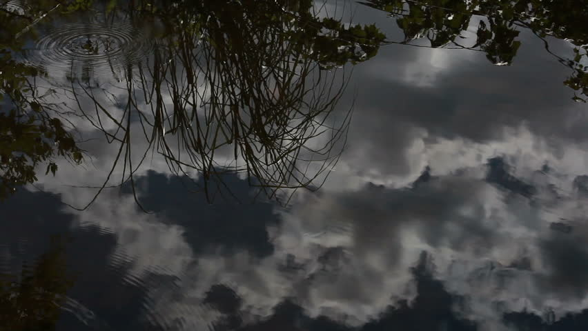 Clouds reflecting on water surface
