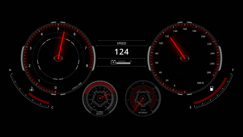 Digital optitron speedometer of car driving with acceleration, dashboard | Shutterstock HD Video #24572480