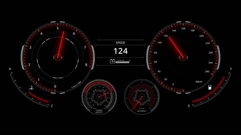 Digital optitron speedometer of car driving with acceleration, dashboard