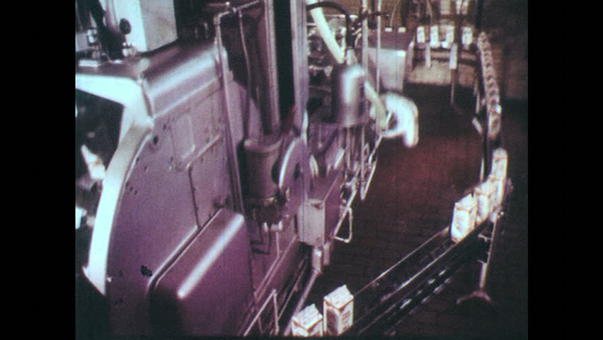 UNITED STATES: 1950s: food on production line. Crops gathered from field. Man splits peas.