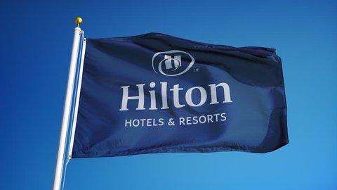 Hilton Hotels Resorts Company Flag Stock Footage Video 100 Royalty