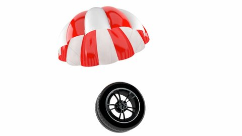 Car wheel with parachute isolated on white background