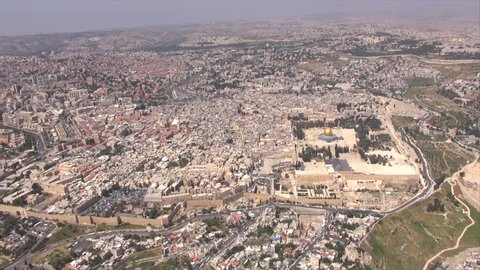Jerusalem - Aerial View Of The Old City, Western Wall, Al-Aqsa Mosque, Israel.