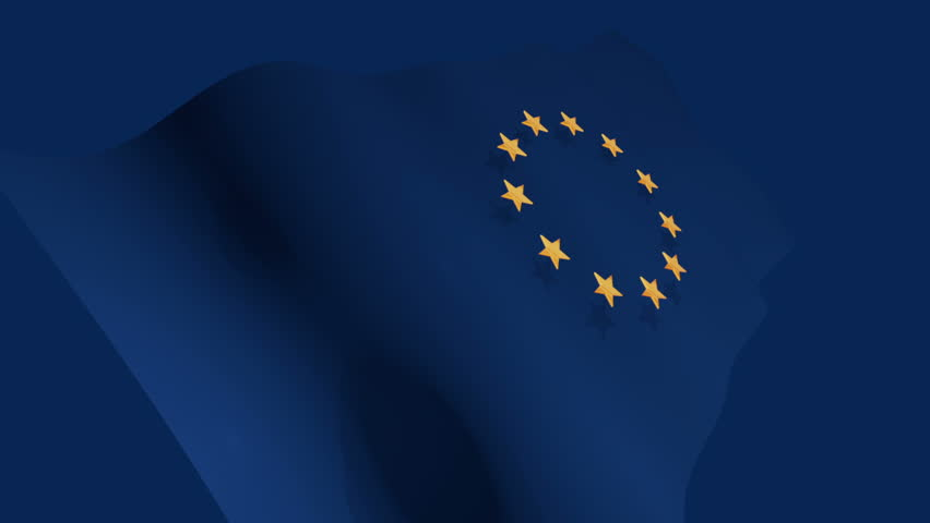 European Union EU 3d flag infinite loop animation background