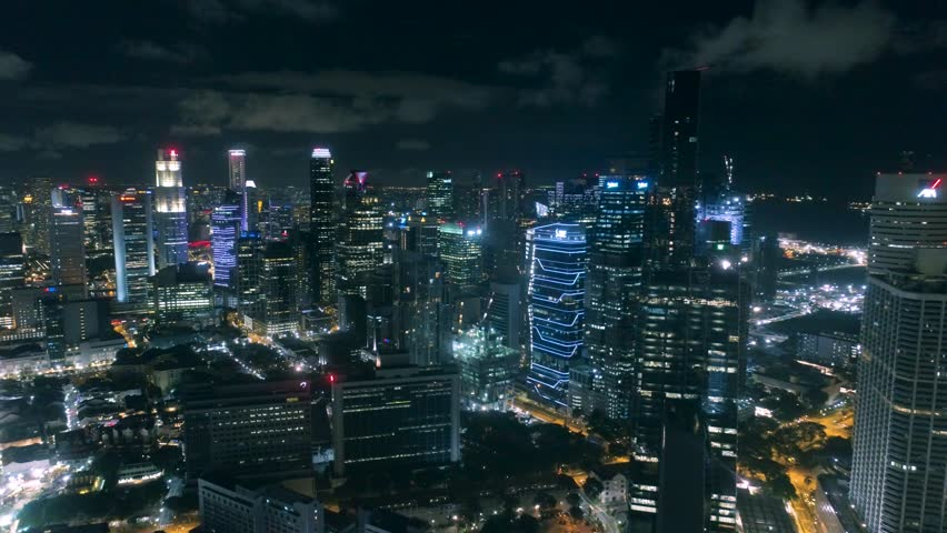 Singapore business district at night Aerial Night traffic