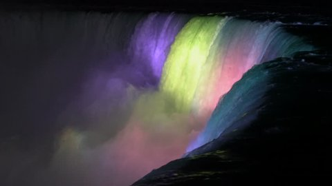 Niagara Falls at night with colored lights