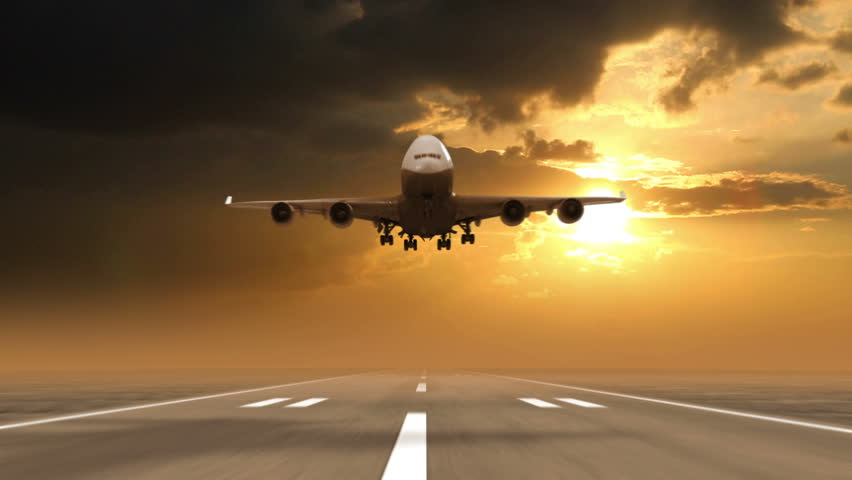3d airplane take off on a runway with airport in the background tour stock footage. Black Bedroom Furniture Sets. Home Design Ideas