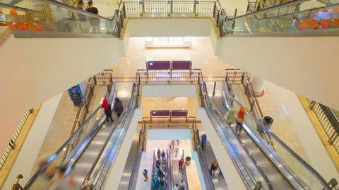 Timelapse of escalators motion in malaysian shoping mall of Kuala Lumpur