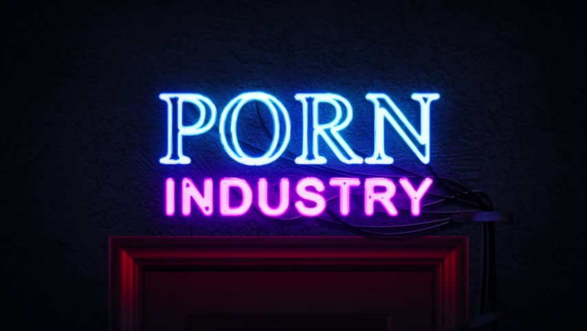 Porn Industry Neon Sign Turning on and Off