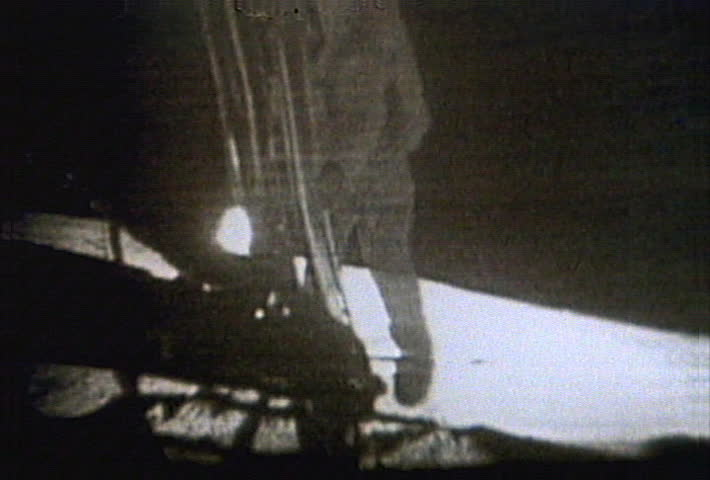 Apollo 11 - Armstrong on ladder, descending