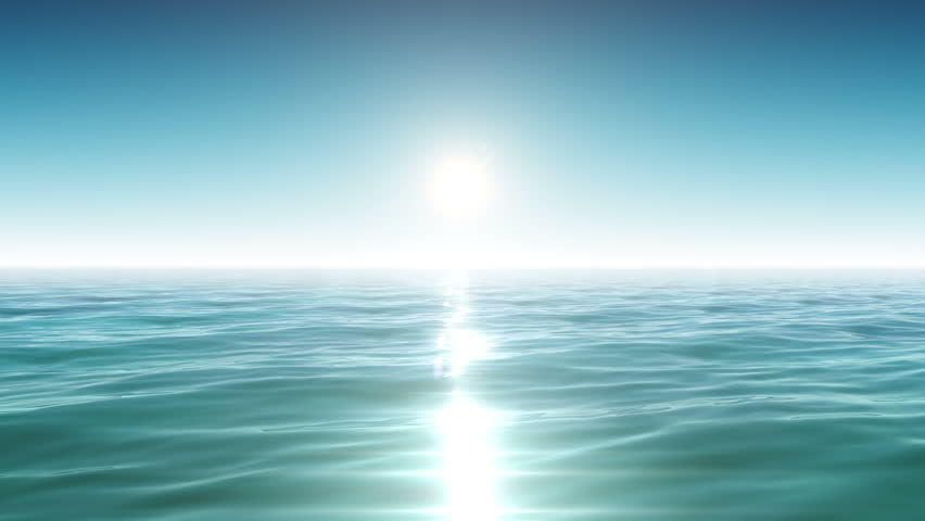 Beautiful Sea and Sun. Blue Sky. Morning Freshness. Looped animation. HD 1080.