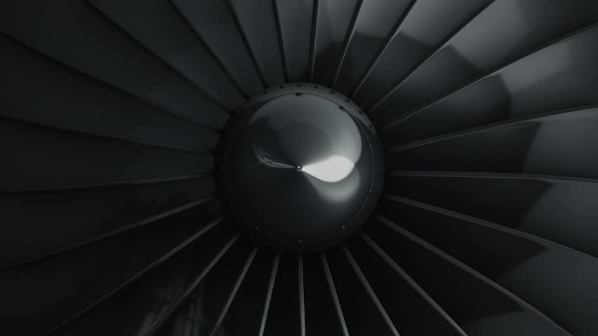 Animation of rotation turbine from turbojet airplane engine. Animation of seamless loop.