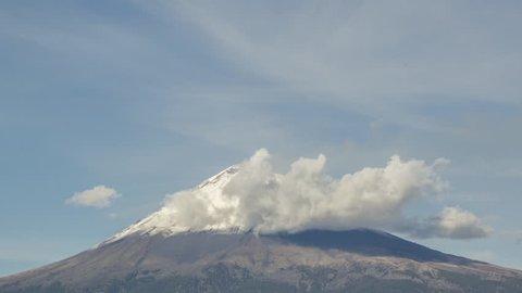 Timelapse Fumarole of the volcano popocatepetl in puebla Mexico