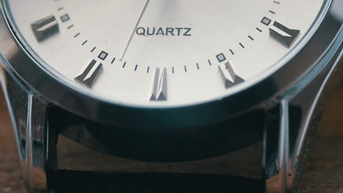Modern quartz men's watch macro Second hand close up.