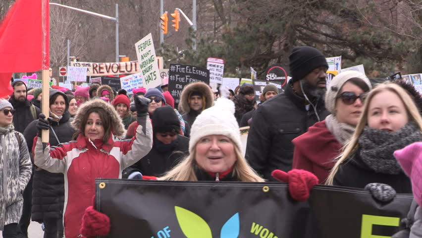 Toronto, Ontario, Canada March 2017 International women's rights day march and protest
