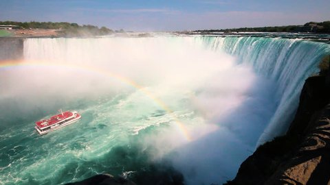 Boat Full of Tourists Gets Sprayed by Horseshoe Waterfall Under Rainbow in Niagara Falls Ontario Canada
