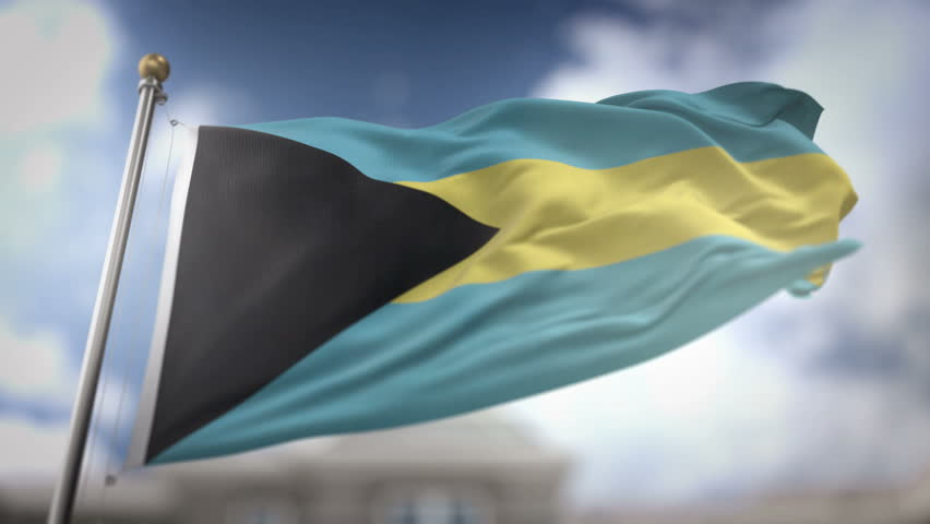 The Bahamas Flag Waving Slow Motion 3D Rendering Blue Sky Background - Seamless Loop 4K