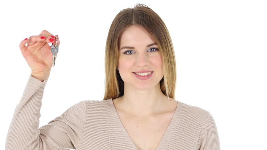 Woman Showing House Keys, White Background | Shutterstock HD Video #24824000