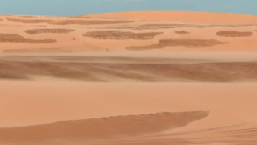 Desert landscape. Sahara winds blowing sand. Arid and dry landscape of desert. Blowing sand in mountain dunes | Shutterstock HD Video #24882320
